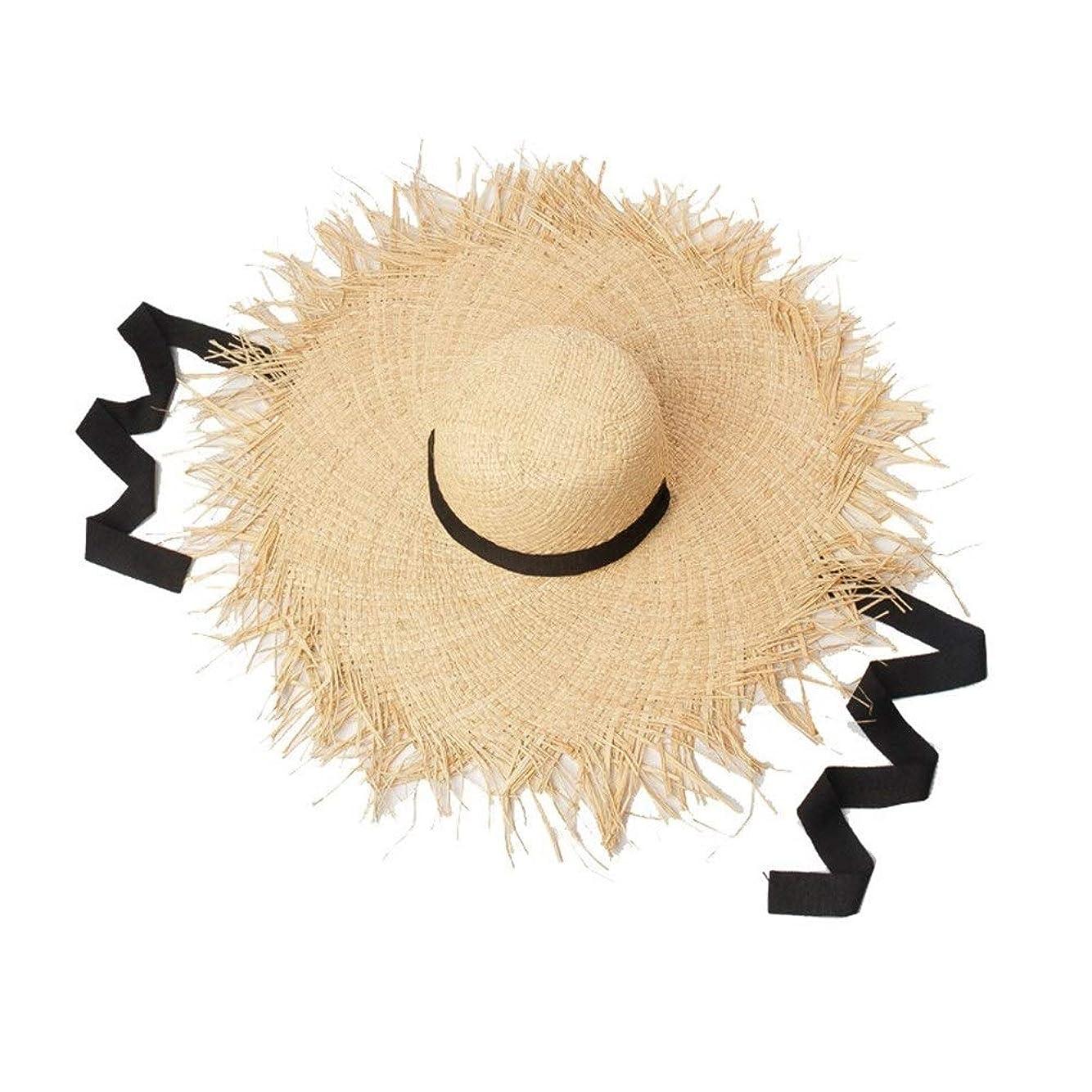 責任者薄いですパッチストラップ付き春と夏の手作りドームエッジ仕上げラフィットビッグハット屋外サンシェードビーチラフィット麦わら帽子