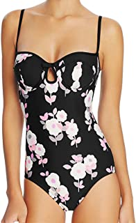 One Piece Swimsuit Underwire Keyhole Floral Bow Maillot Black S