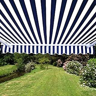 ALEKO 12x10 Feet Retractable Patio Awning, Blue/White Strap (3.5m x 3m)