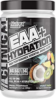 Nutrex Research EAA Hydration   8 Grams of High Performance Essential Amino Acids for Muscle Growth, Strength & Recovery   BCAA's, EAA's, Electrolytes, AstraGin   30 Servings (Maui Twist)