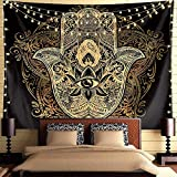 Psychedelic Tapestry Trippy Tapestry  Black Gold Hamsa Hand Tapestry Mandala Medallion Bohemian Tapestry Evil Eye Hamsa Hand Blessing Home Good Luck Wall Decor Tapestry For Bedroom Dorm Room. (79'L59'W)