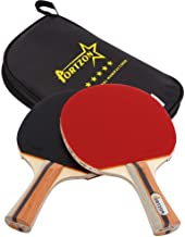 Portzon Ping Pong Paddle Advanced Training Table Tennis Racket,Wooden Blade Surrounded by Rubber for Excellent Balance Spin, Speed Control ,2 Pack