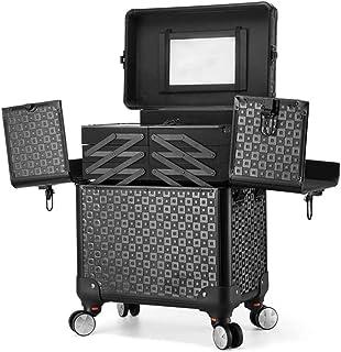 WSJTT. حقيبة مستحضرات تجميل محمولة كبيرة 45.72 سم - 6 أدراج مسطحة احترافية لتخزين المكياج وصندوق تنظيم أدوات التجميل مع مف...