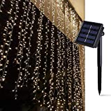 Solar Curtain Lights for Bedroom Parties Wedding,6.6ft x 6.6ft,8 Mode,200 LED Wall Window