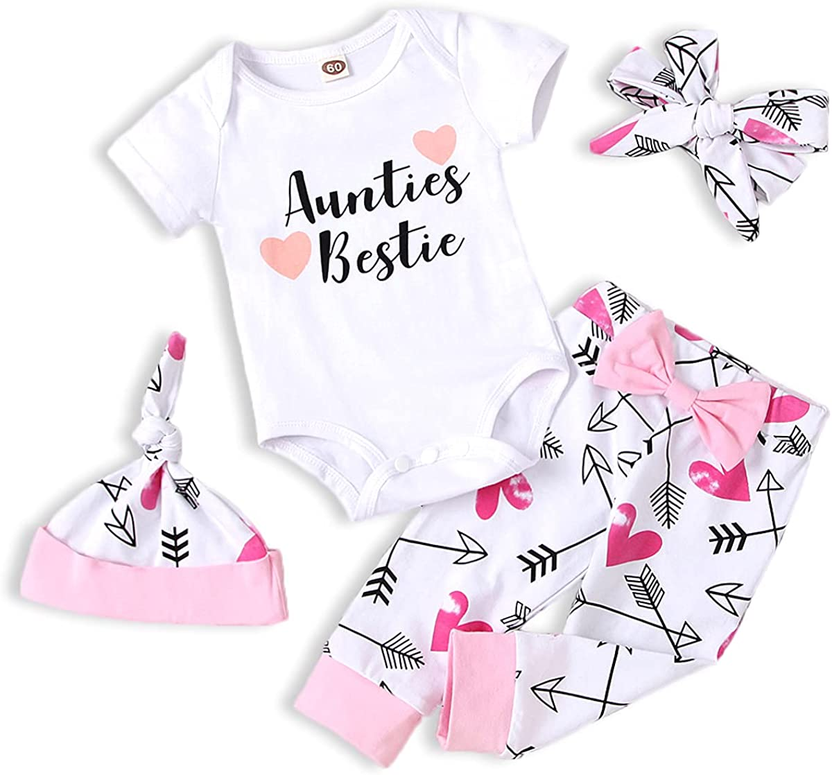 Newborn Baby Girls Aunties Max National products 60% OFF Bestie Bowknot Top Headb Romper Pants