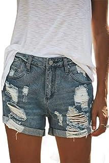 Pantalones Cortos Mujer Jeans Vaqueros Básicos Rotos Cintura Alta Verano Denim Hot Pants Jeans Shorts con Bolsillos
