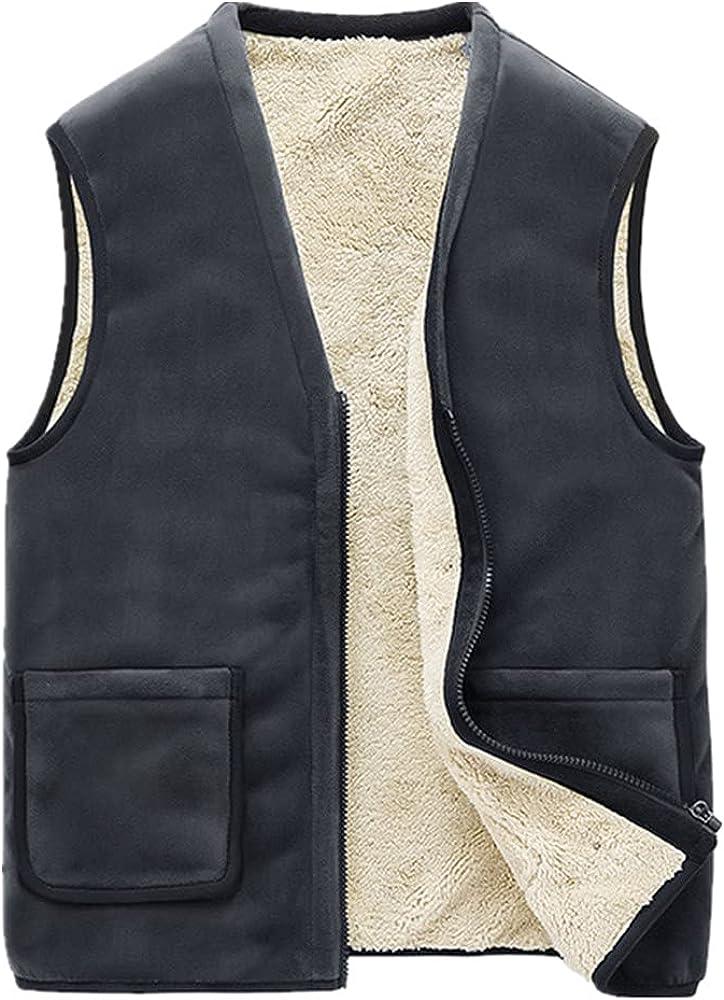 NaranjaSabor Winter Men's Vest Men Thick Wool Sleeveless Vest Windproof Casual