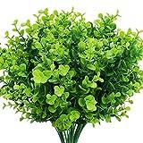 Boic 10 pcs Plantas Verdes Artificial Hojas Arbusto para Exterior, Artificiales...
