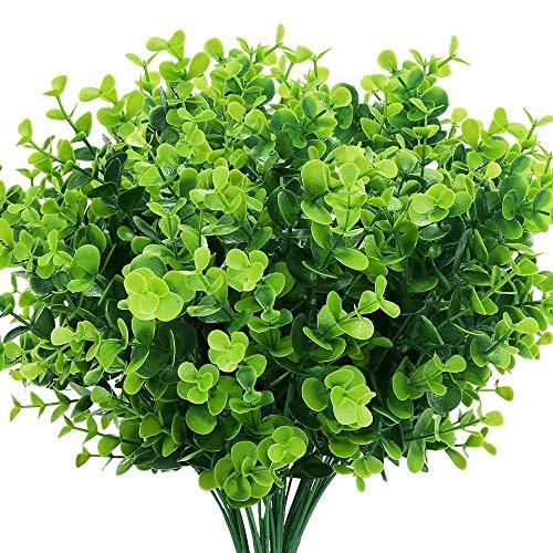 Boic 10 pcs Plantas Verdes Artificial Hojas Arbusto para Exterior, Artificiales Decoracion Plastico Plantas Verde para Decoración de Fiestas, Bodas, Jardín, Hogar, Oficina, Casas
