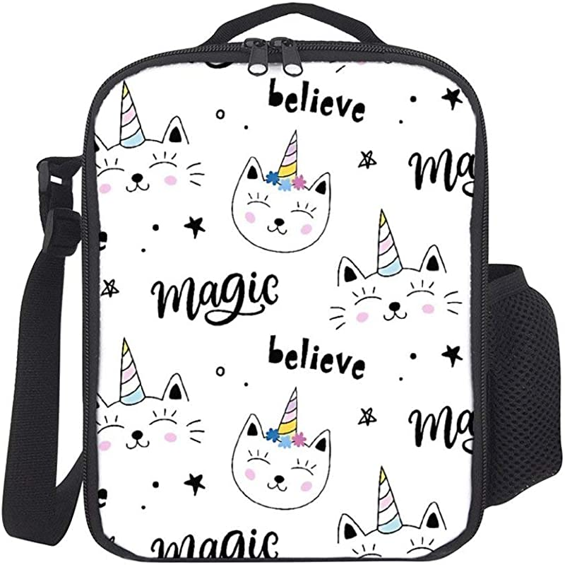 SARA NELL Kids Lunch Backpack Lunch Box Insulated Caticorns Magic Cat Unicorn Lunch Bag Large Lunch Boxes Cooler Lunch Tote