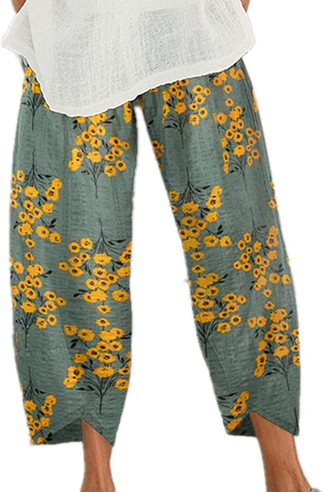 NP Summer Cropped Pants Casual Trousers Women Waist
