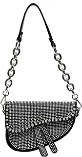 Damen Schultertasche mit Nieten, glänzende Strasssteine, Clutch, Unterarm-Handtasche, Umhängetasche, Umhängetasche