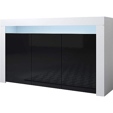 Muebles Bonitos | Buffet Moderne Aker (Blanc et Noir, Buffet)