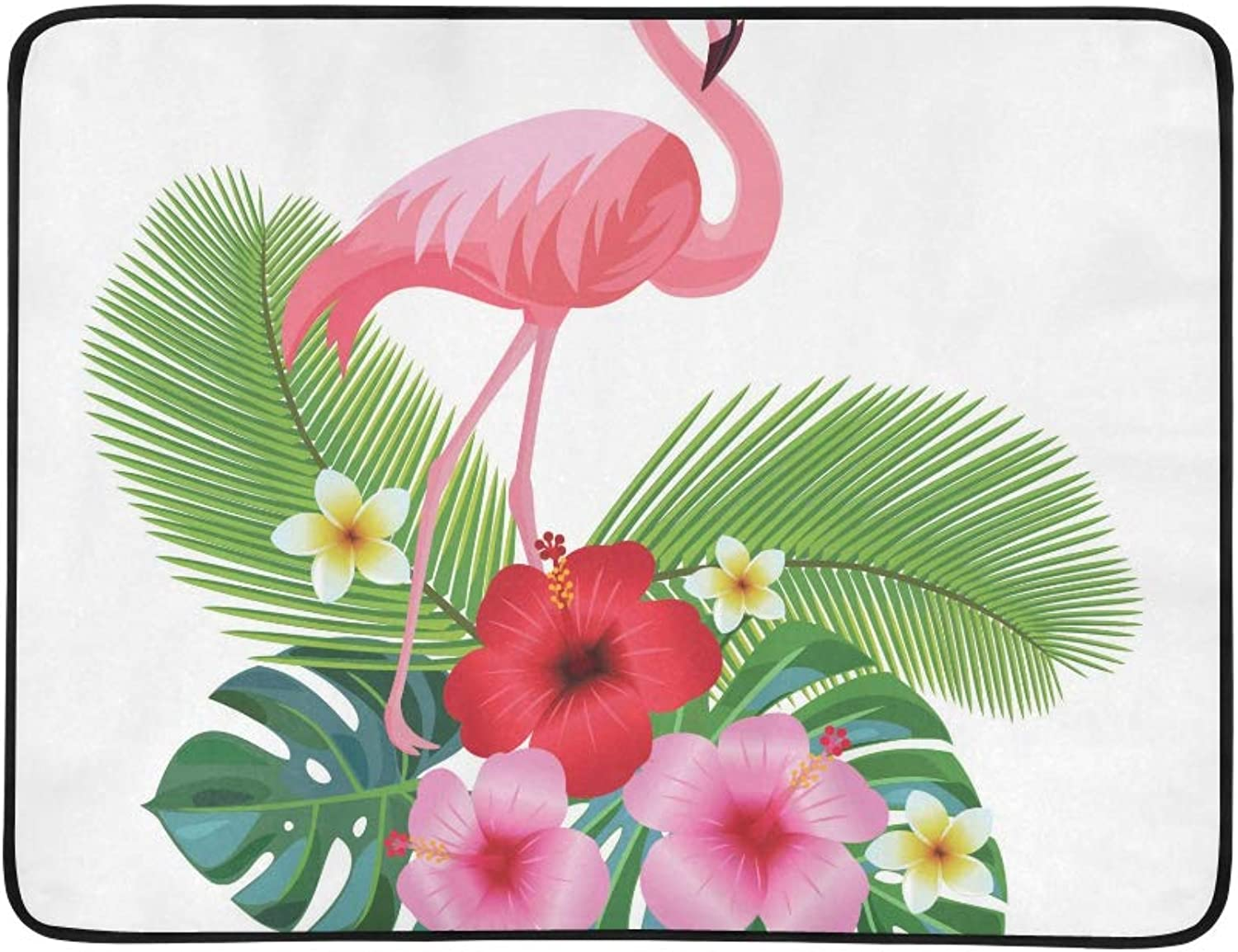 Tropic Flower Palm Leaf and Flamingo Pattern Portable and Foldable Blanket Mat 60x78 Inch Handy Mat for Camping Picnic Beach Indoor Outdoor Travel