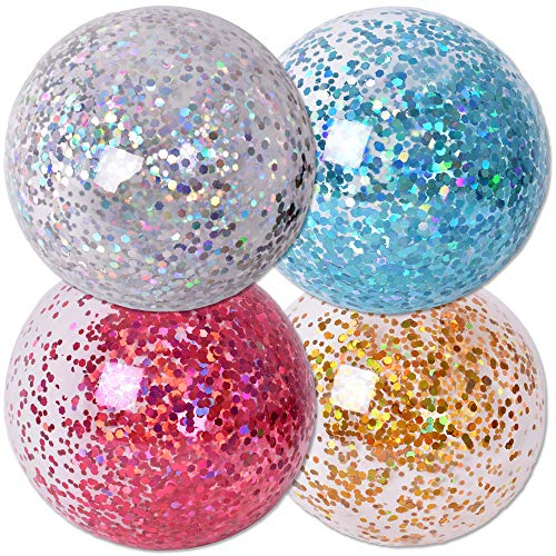 TE-Trend 4 Stück Glitter Ball Gold Silber Glitzer Ball Transparente Bälle 85cm Aufblasbar Spielball Wiederverwendbar Mehrfarbig