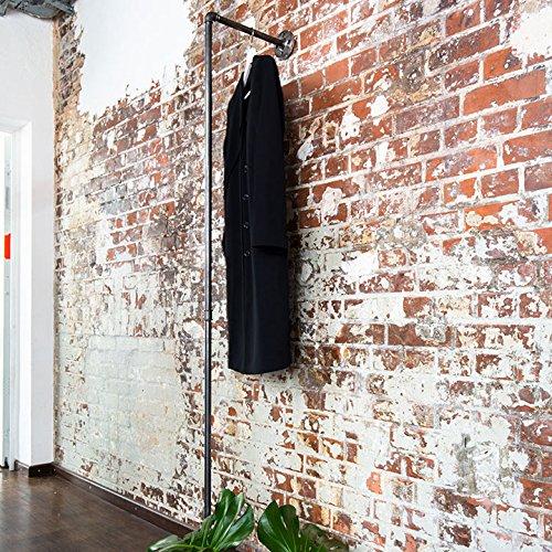 Various Kleiderständer Industrial - div. Größen, z.B. 33 x 195 cm - als Wand-Garderobe für Jacken & als Kleiderstange - in L-Form, schwarz, Metall