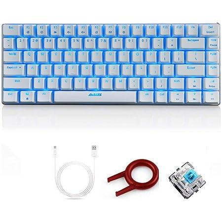 FELiCON AK33 Tastiera da gioco meccanica cablata, LED blu retroilluminato 82 tasti Tastiera da gioco E-sport per dattilografi da ufficio che giocano (interruttore blu, bianco)