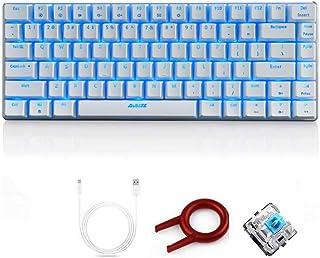 FELiCON Ajazz AK33 Teclado para Juegos con Cable mecánico, LED Azul retroiluminado 82 Teclas E-Sport Gamer Teclado para mecanógrafos de Oficina Que juegan Juegos (Interruptor Negro, Blanco)