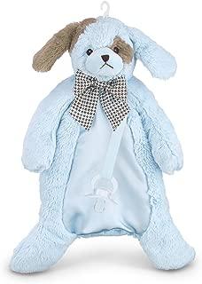 Bearington Baby Waggles Pacifier Pet, Blue Puppy Plush Stuffed Animal Lovie and Paci Holder, 15