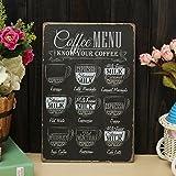 Bluelover Caffè Menu Lamiera Metallo Dell'Illustrazione Pittura Tin Cafe Parete Taverna P...