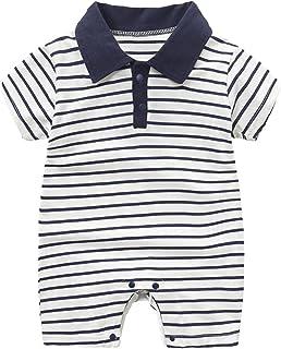 طفل صبي انسان محترم لعبة البولو الرقبة رومبير مولود جديد شرائط بذلة كم قصير ارتداءها صيف ملابس (Color : Blue, Size : 59CM)