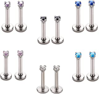 6 Paia 16G Helix Piercing Trago Orecchio Cartilagine Labbro 6MM/8MM Orecchini Zirconi Strass Colorati Brillante Acciaio Ch...