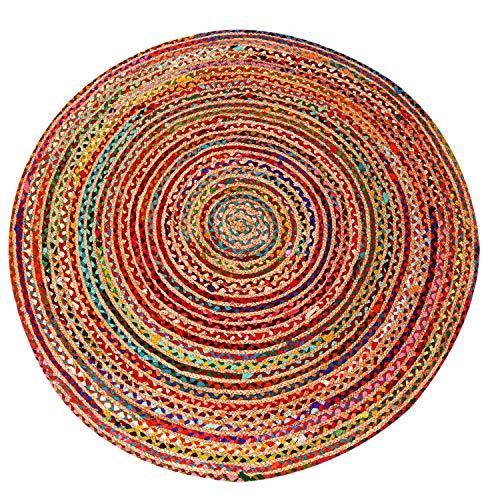 Casa Moro Alfombra de yute Tamani, multicolor, diámetro de 120 cm, redonda, alfombra de estilo bohemio de 100 % fibra natural de yute y algodón trenzado a mano, para una vivienda bonita, MA5112