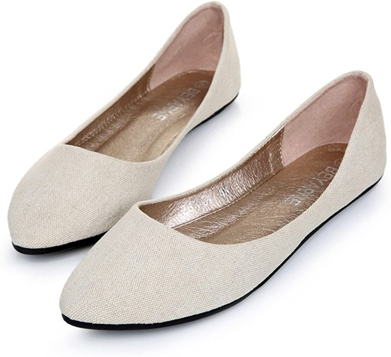 BININBOX Women's Denim Pointed Toe Flats shoes 2 color