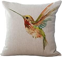 OebTrol Oil Painting Bird Hummingbird Throw Pillow Case Cushion Cover Decorative Cotton Blend Linen Pillowcase for Sofa 18X 18 (6) ¡
