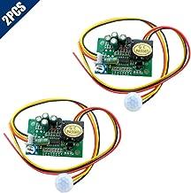 KOOBOOK 2Pcs PIR IR Pyroelectric Infrared Module Adjust Relay Output Human Body Sensor DC12V Range 5-8M