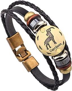 Charmed Craft Handmade Horoscope Zodiac Constellation Copper Alloy Leather Braided Rope Bracelet