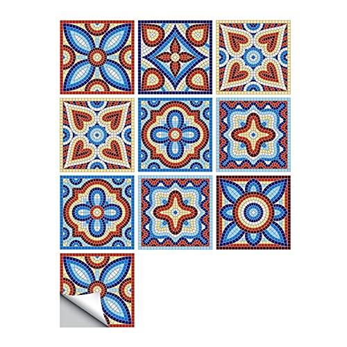Vinilos para azulejos de pared 10 unids/set Ornamento floral Piso de la pared Pegatina de la pared Cocina Cerámica Cerámica Calcomanías de la pared Impermeable Crystal Tile Art Mural Antifouling y a