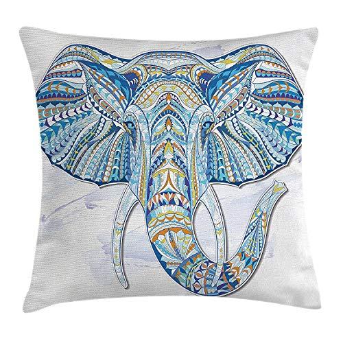 Funda de cojín étnico con diseño de cabeza de elefante y tótem étnico patrón folclórico ornamentado efectos tribales, decoración cuadrada, 45,7 x 45,7 cm, color azul