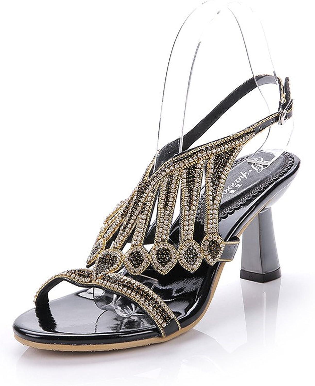 Unicrystal Women's Handmade Crystal Embellished Ankle Strap High Heel Pump Dress Sandals