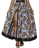 Shenbolen Women African Print Skirt Ankara Long Maxi Skirts(C,Medium