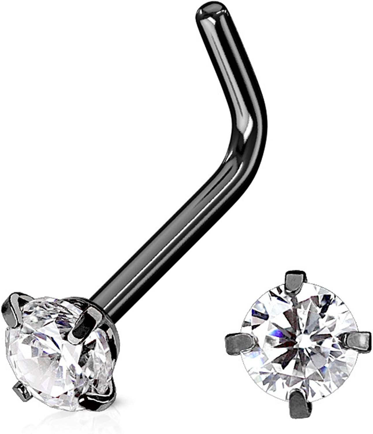 20G 3.0mm Mix-color Cubic Zirconia Crystal Stud Nose Ring Ear Body Piercing Surgical Steel