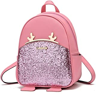 Women Teen Girls Cute Mini Leather Backpacks Small Daypack Purse Deer Antlers Design Christmas Gift