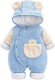 Minizone Baby Winter Schneeanzug Strampler mit Kapuze Overall Outfits Baumwolle Warme Jumpsuit Tasche Langarm Jungen Mädchen 0-12 Monate