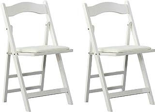 comprar comparacion Arcalt Silla plegable de silla de comedor silla de madera para cocina (Blanco-2)