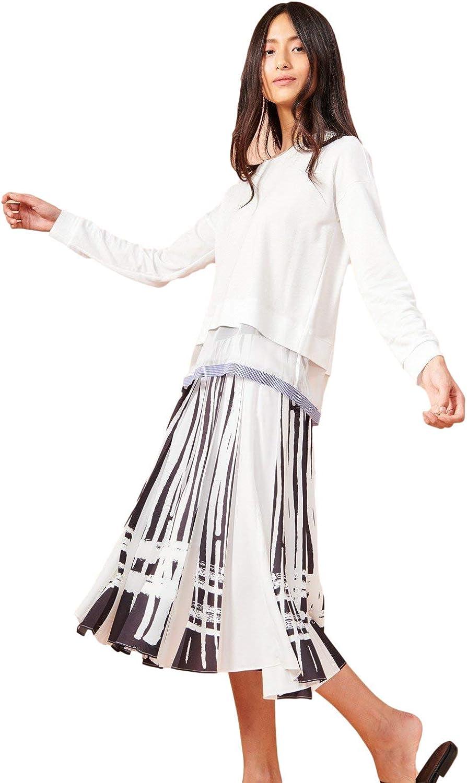 Cop Copine Women's A-Line Black & White Print Skirt Anaxa