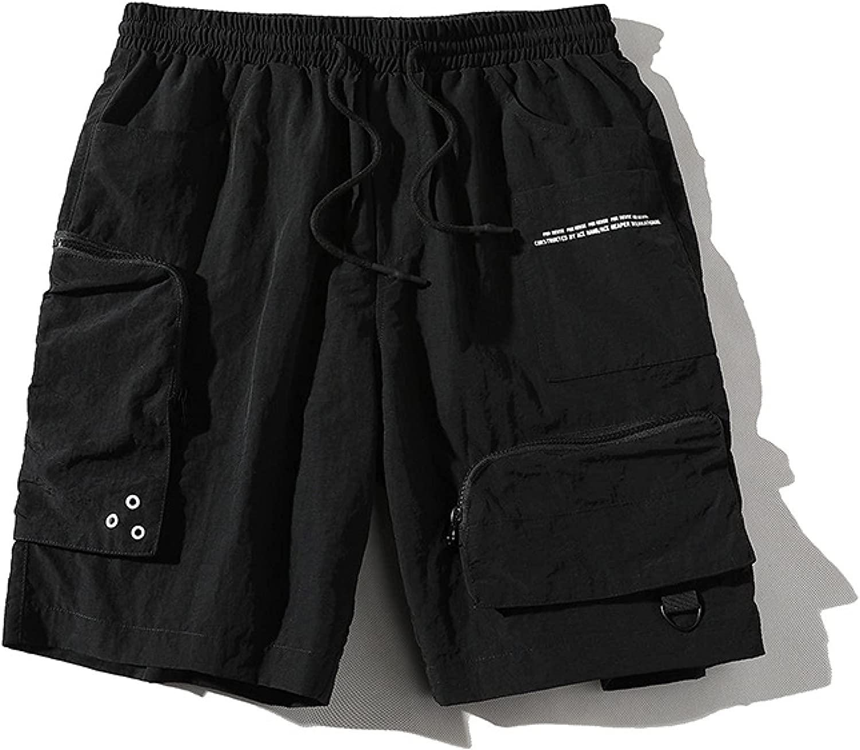 Segindy Men's Fashion Letter Print Shorts Fashion Stitching Zipper Pockets Casual