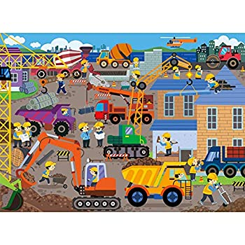 XLJ Puzzles in a Metal Box 100 Piece Jigsaw Puzzles for Kids Ages 4-8 Construction Site Puzzle for Children Educational Puzzle Games Toys Learning Toddler Puzzles Gift