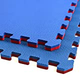 IncStores - Jumbo Soft Interlocking Foam Tiles - Perfect for Martial Arts, MMA, Lightweight Home Gyms, p90x, Gymnastics, Cardio, and Exercise (Red/Blue, 1 Tile (4 Sqft))