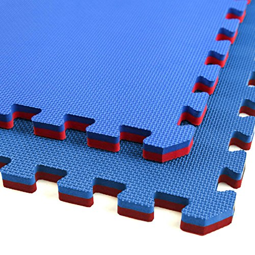 IncStores - Jumbo Soft Interlocking Foam Tiles (6 Tiles, Red/Blue) Perfect for Martial...