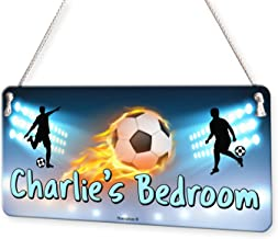 Football Flaming Ball Personalised Childs Bedroom Door Sign Name Plaque