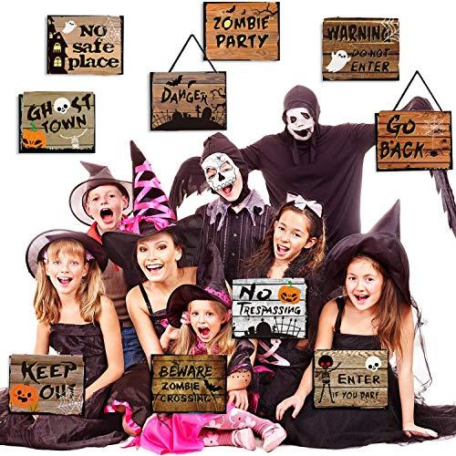 WELLXUNK Halloween Banner,10 Pezzi Halloween Decorazioni Cartello Portico Sign Festa Segno,Decorazioni di Halloween Outdoor Indoor,per Cancello, Giardino, Festa in Casa