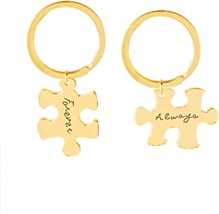 Aooaz Key Chain Id Tag 2 Pcs Matching Puzzle Always Forever Keychain Women Gold
