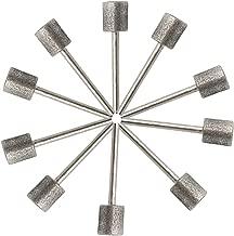 NGe 10 Pcs 10mm Cylinder Head Diamond Coated Mounted Points Grinding Bit - 3mm Shank