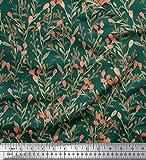 Soimoi Grün Georgette Viscose Stoff Beeren Blätter Dekor