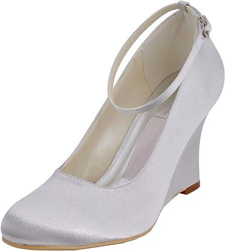 ZHRUI GYMZ701 Femmes Wedge Talons Hauts Satin Soirée De Bal Chaussures De Mariée De Mariage Pompes Sandales Flat (Couleuré   blanc-9cm Heel, Taille   7.5 UK)